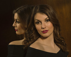 Reflected beauty (Cunobelin2) Tags: mirror reflection brunette beauty shoulder lipstick elegant glamorous woman dress