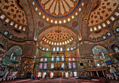 The Blue Mosque in Istanbul (Trey Ratcliff) Tags: istanbul stuckincustomscom treyratcliff turkey treyratcliffcom mosque blue dome window glass color colour hdr hdrtutorial hdrphotography hdrphoto aurorahdr religion architecture