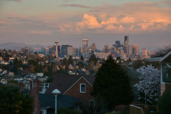 Magnolia Sunset Views 13 (C.M. Keiner) Tags: seattle washington usa city cityscape skyline mountains pacific northwest puget sound sunset magnolia hills clouds spring cherry blossoms