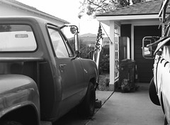 San Jose, California (bior) Tags: pentax645nii pentax645 6x45cm 120 mediumformat tmax100 kodaktmax tmax tmx100 suburbs residential street sanjose california siliconvalley driveway house truck garage pickuptruck starsandstripes flag