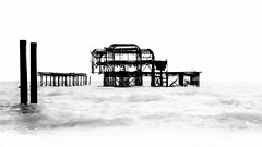 West Pier - high key (Alan Reeve) Tags: brighton west pier coast high key mono black white sea beach wreck ruin