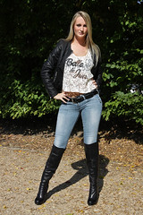 Lorena 03 (The Booted Cat) Tags: sexy long blonde hair girl model woman tight blue jeans leather jacket boots heels highheels overkneeboots