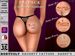 BodyCult Tattoo Naughty Tattoos Daddy Fatpack LO1123 (Created by nici Sewell) Tags: bodycult tattoo personalized custom naughty pubic butt daddys nasty mistress owned goddess slave slut lickme princess angel fatpack