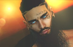 ⚡Hey its me... (Markthedark SL) Tags: sl secondlife avatar man homme face me portrait male virtual world expression sun sunset sunrise lens flare creative life second head orange yellow shots hot beard tattoo eyes
