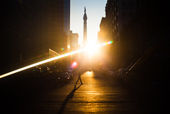 Indy Henge! (cara zimmerman) Tags: indyhenge indianapolis morning monumentcircle monument shadow silhouette creeping sunlight sun sunshine downtown city buildings road street