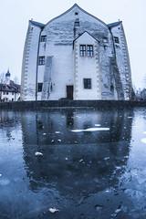 office of the ice queen (allanodyne) Tags: water ice frozen sky reflection kalffenbach castle schloss wasserschloss fisheye perspective