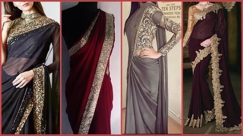 Top Stylish Party Wear Designer Plain Sarees Designs 2019