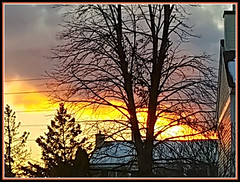 February Sunset (bigbrowneyez) Tags: sunset sky gorgeous delightful colourful amazing dof lovely pretty clouds nuvole cielo bello rich reflections sole fresh house chimney roof trees fantastic striking stunning nature natura bellissma foto snow februarysunset winter inverno