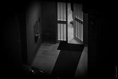 keep darkness outside, keep slaves inside (simone.pelatti) Tags: night dark darkness door entrance bulding city inside entering escaping step bars prison black white blackwhite bw biancoenero monochrome contrast