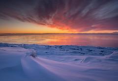 Cold Sunrise in Tofte (Mark Polson) Tags: sunrise lakesuperior tofte mn bluefinbay sea smoke resort nikon