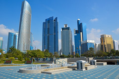 Corniche, Abu Dhabi (Seventh Heaven Photography *) Tags: abu dhabi uae united arab emirates skyline landscape city towers buildings architecture skyscrapers fountain blue sky nikond3200 corniche