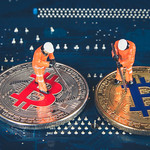 Miners with silver and golden Bitcoin thumbnail