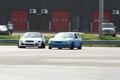 Tandem Run (Find The Apex) Tags: nolamotorsportspark nodrft drifting drift cars automotive automotivephotography nikon d800 nikond800 nissan 240sx nissan240sx s13 s14 tandemdrift tandem tandemdrifting tandembattle