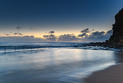 Blue Hour at the Ocean Pool (Merrillie) Tags: daybreak sunrise cloudy nature water seapool oceanpool macmasters centralcoast morning newsouthwales rocks earlymorning nsw sea dawn ocean clouds landscape waterscape coastal macmastersbeach outdoors seascape australia coast sky waves