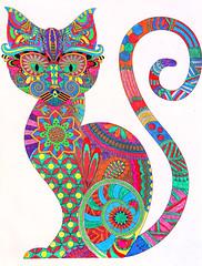 52 in 2019 Challenge - #34 - A work of art (crafty1tutu (Ann)) Tags: challenge 52in2019challenge 34workofart cat colourful adultcolouringinbook crafty1tutu canon5dmkiii canon24105lserieslens anncameron