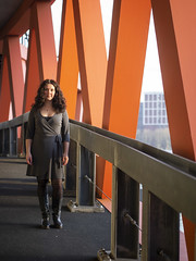 Laura, Rotterdam 2019: Triangles and curves (mdiepraam) Tags: laura rotterdam 2019 portrait pretty attractive beautiful elegant classy gorgeous dutch brunette girl woman lady naturalglamour curls coat scarf boots stockings tights nylons
