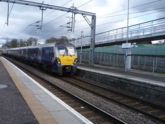2M21 1237 hrs Edinburgh Waverley to Milngavie arrives at Drumgelloch (calderwoodroy) Tags: scotrail northbritishrailway drumgellochstation railwaystation station drumgelloch airdrie monklands northlanarkshire lanarkshire scotland