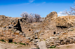 Framing a Bench and Trees (mary_hulett) Tags: ancient aztec newmexico indian landscape pueblo travel ancientcivilization adobe 1000yearold fourcorners civilization aztecnationalmonument frame abandoned farmington