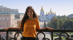 Samantha in the high bell tower of Sophia Cathedral (B℮n) Tags: київ kyiv kiev ukraine киев kiëv oekraïne dnjepr dnipro brovarskyiavenue hidropark viewpoint historical treasures river green park bridge rusanivskastrait dnieper brovary 50faves topf50 maidan euromaidan orange revolution independence square europe centre history president viktor janoekovytsj україна globus monument independencemonumentмонументнезалежності монументнезалежності ukrainehotel готель готельукраїна євромайдан ❤ blue yellow flag соборсвятоїсофії софійськийсобор unesco national sanctuary sophiaofkiev holy sophia cathedral complex landmark worldheritagelist ukrainian baroque architecture heritage seven wonders unescoworldheritage girl woman portrait stmichaelsmonastery goldendomed sintmichielsklooster 100faves topf100