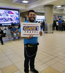 Airport Transfer to our Hotel (krossbow) Tags: aeropuerto internacional mariscal sucre gate1travel travel gate1 trip vacation adventure ecuador south america southamerica quito smile sign male man guapo beard