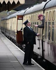 _1008739 (Stephen.Bingham) Tags: gloucestershirewarwickshiresteamrailway dinmoremanor dcg9 ccbysa creativecommons attributionsharealike stationmaster coach gwsr pointing finger