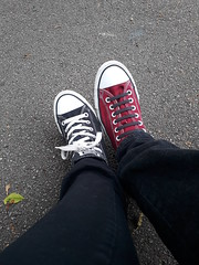 Converse cross over (BecksInSpecks) Tags: converse feet two whose man woman black red laces right left jeans