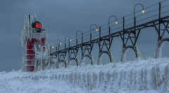 Here comes winter...... (Kevin Povenz) Tags: 2015 january kevinpovenz westmichigan michigan southhaven pier lighthouse red winter cold ice lakemichigan canon60d catwalk landscape dawn morning early earlymorning