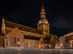 Riga (bransch.photography) Tags: ancient illumination view building cathedral church architecturalelement landmark brick city latvian latvia evening dome urban baltic famous town historical riga beautiful balticstates old night history architecture monument medieval europe basilica historic