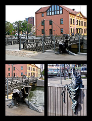 "photo - ""Black Ghost"", Klaipeda, Lithuania (Jassy-50) Tags: photo klaipeda lithuania publicart art artwork blackghost ghost lantern sculpture metalsculpture metal bridge collage triptych"