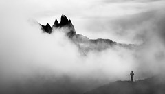 Sneak Preview (One_Penny) Tags: dolomiten italy canon6d dolomites landscape mountains mountainscape nature photography southtyrol seceda peak summit mountainrange hiking black white blackandwhite bnw bw clouds fog mist minimal man people sneakpreview ortisei stulrich valgardena italia outdoor