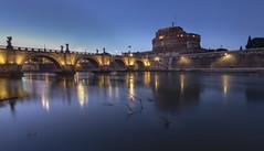 Pont Vittorio Emanuele II - Rome (Didier Ensarguex) Tags: pontvittorioemanueleii rome réflexionreflet heurebleue castle château architecture travel urban 5dmarkiv didierensarguex 1635 canon italie castelsantangelo