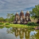 Phra Prang Sam Yot replica from the Khmer era in Mueang Boran, Samut Phrakan, Thailand thumbnail