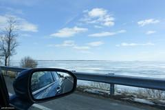 Highway 33 (gabi-h) Tags: adolphustown car window mirror windowswednesday sky lakeontario shore travelling gabih winter water snow ice reflection