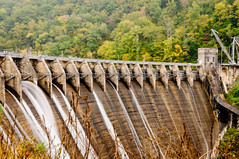 Cheoah Dam – Crest & Spillways (Z-Imagery) Tags: america architecture cheoahdam cheoahmountains crestgate cultural dam documentary editorial grahamcounty landscape littletennesseeriver moonshiner28 nc nc28 nchighway28 nantahalanationalforest nationalregisterofhistoricplaces natureandenvironment northamerica northcarolina outhernstates plantsandflowers route28 south southatlantic spillwaygate spliiway structure swaincounty tarheelstate tree us usa unitedstates water autumn autumnal colorful concrete crane fall fallcolors openair outdoor placid serene slope tranquil verdant nikon d300 tamronxrdildifmacro 2875mm f28