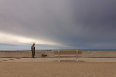 Dog walk (JLM62380) Tags: bench dog walk man orage storm sea mer camargue france light clouds sky ciel nuages lumiére saintesmariesdelamer promenade chien animal