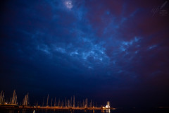My Mistress's Eyes Are Nothing Like the Sun—Shakespeare (ioannis_papachristos) Tags: thessalonikē wharf bluehour twilight sunset dusk moon waxingcrescent stnicholas saintnicholas chapel kalamaria thessaloniki salonica greece clouds blue overcast sky skies scenery landscape cityscape nocturnal night april spring mirrorless canon papachristos eos m50 poetry poem poet shakespeare williamshakespeare sonnet130 masts pier dock ships sail belltower scaffolding lowkey macedoniagreece makedonia macedoniatimeless macedonian macédoine mazedonien μακεδονια македонијамакедонскимакедонци