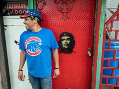 Hector, Chicago (Thomas Edward Osborne) Tags: bewareofdog cheguevara chicago door man portrait red
