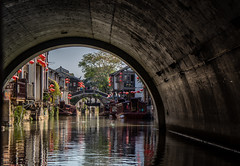 Canals (skram1v) Tags: suzhous canal venicestyle water boats docks bridges tunnels rearside buildings graffiti oct2018