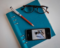 Clipbook and coffee. (David M:) Tags: clip book iphone se spectacles pencil glasses