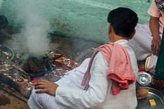Dung Fire, Varanasi India (AdamCohn) Tags: adam cohn ganga ganges india uttarpradesh varanasi alley alleyway blessing fire pooja prayer puja ritual streetphotographer streetphotography wwwadamcohncom adamcohn