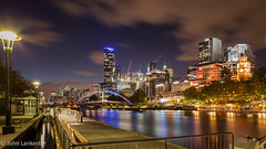 Melbourne, Australia looking west during evening blue hour (Jhopne) Tags: victoria yarrariver citylights melbourne bluehour jan19 australia canonef2470mmf28lusm city cityscape ponyfishisland canoneos5dmarkii buildings sky