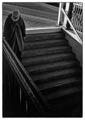 Going down [Olympus Pen EE2, Half frame] (K.Pihl) Tags: halfframe darkroom print erfurt germany blackwhite schwarzweiss film stairs pushed apx100400 monochrome standdevelopment pellicolaanalogica streetphotography bw dzuiko28mmf35 analog fixedfocus
