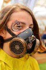 A touch of steampunk (radargeek) Tags: norman medievalfair reavespark 2019 april normanmedievalfair2019 facepaint mask steampunk octopus gears respirator teen