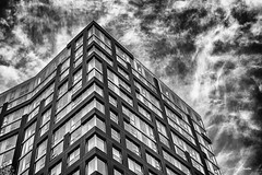 In The Painted Sky. (Igor Danilov Philadelphia) Tags: mono bw buildings structure sky original draw art nature up dream dreamy windows levels