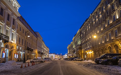 Morning in St. Petersburg. (Oleg.A) Tags: saintpetersburg square russia nature city orange snow morning road car architecture wall yellow sunrise winter old brick outdoor town exterior blue colorful landscape building window house street cityscape skyscape design automobile style sky