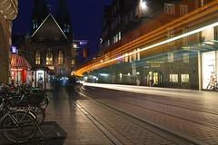 Bremen - Tram (cnmark) Tags: germany deutschland bremen obernstrase tram strasenbahn pedestrians zone fussgängerzone lichtspuren bewegung moving movement action light trails streams night nacht nachtaufnahme noche nuit notte noite ©allrightsreserved