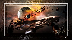 Promo 085 - 2019 - The Sparking Of Caedos (scryer52) Tags: space spaceart spaceartwork spaceship starship stars nebula nebulae planet moon explosion asteroids theorville fanart scifi sciencefiction