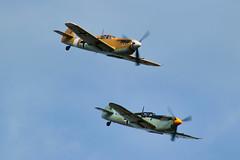 Hispano HA-112 MIL Buchon (G-AWHK)/Hispano HA-112 MIL Buchon (G-AWHE) (alex kerr photography) Tags: hispanoha112 me109 messerschmittbf109 duxford flyinglegends airshow ww2 fighter fightercollection