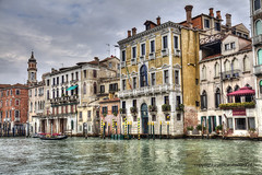 Venice (Jan Kranendonk) Tags: venice venetian italy italian europe european buildings city town architecture travel water canal street alley narrow small little houses home boats hdr venezia old historical sky cloudy clouds reflections