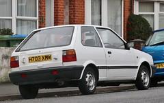 H703 XMW (Nivek.Old.Gold) Tags: 1990 nissan micra ls 3door 988cc gemini swindon